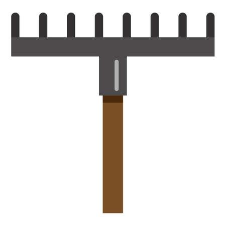 Rake Color Icon. Vector Simple Illustration of Gardening Tool Vectores