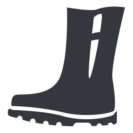 Rubber Boots Silhouette Icon. Shoes for Rainy Weather