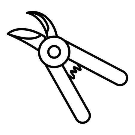 Garden Shears. Vector Pruner Outline Icon Vectores