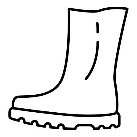 Rubber Boots Line Icon. Shoes for Rainy Weather
