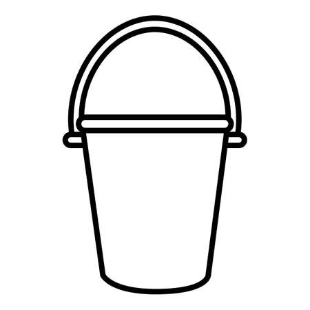 Bucket Outline Icon on White Background Vectores