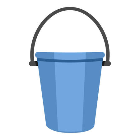 Bucket Color Flat Icon on White Background