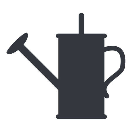 Watering Can Silhouette Icon on White Background