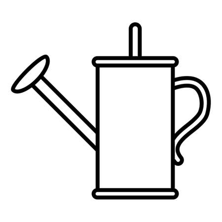 Watering Can Outline Icon on White Background