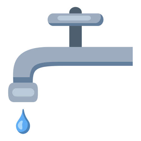 Vector Water Tap Icon. Color Flat Faucet with Drop. Vectores