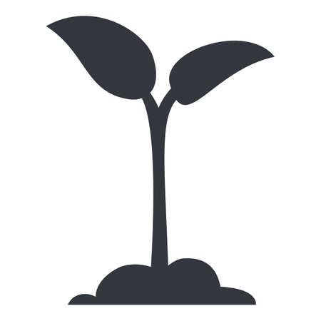 Vector Sprout Icon. Sprig Silhouette Pictogram
