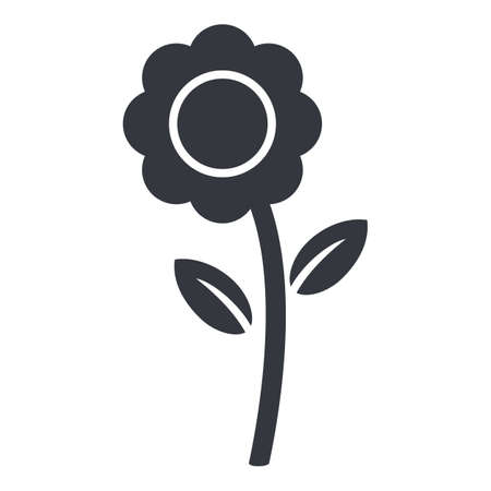 Vector Black Flower Icon on White Background
