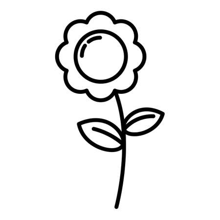 Vector Flower Outline Icon on White Background