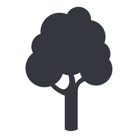 Vector Tree Silhouette Icon on White Background Vectores