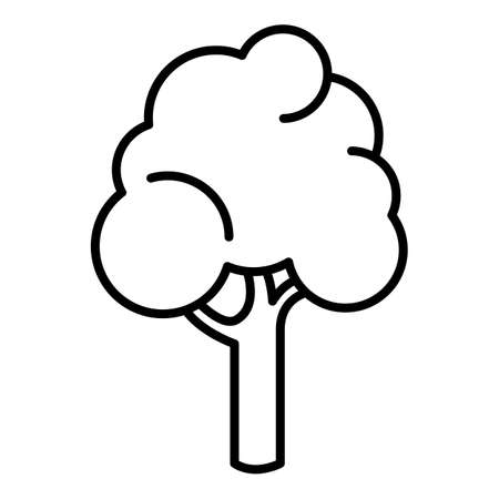 Vector Tree Outline Icon on White Background Vectores