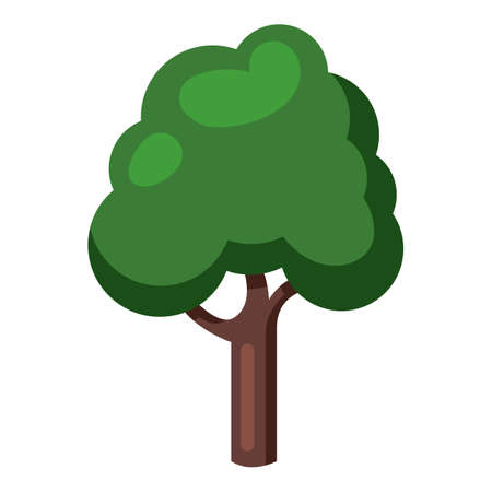 Vector Tree Color Flat Icon on White Background Vectores