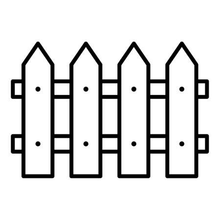 Vector Fence Icon. Palisade Minimalistic Outline Illustration. Vectores