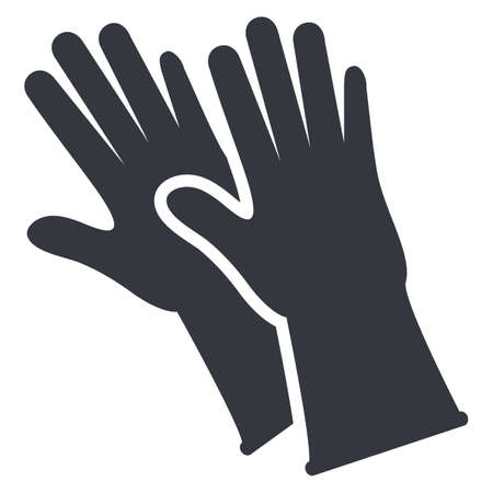 Rubber Gloves Silhouette Icon on White background