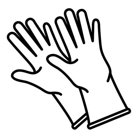 Rubber Gloves Outline Icon on White background Vectores