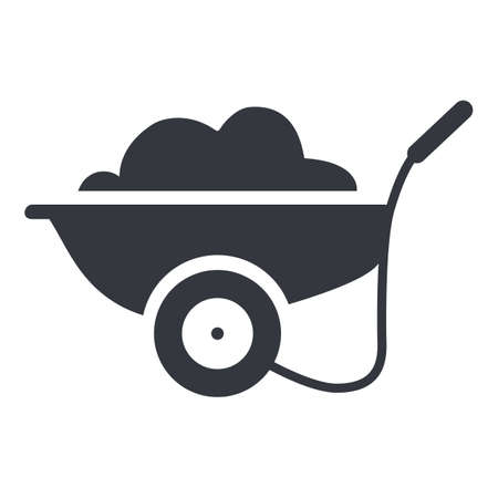Garden Cart with Soil. Vector Basic Icon.