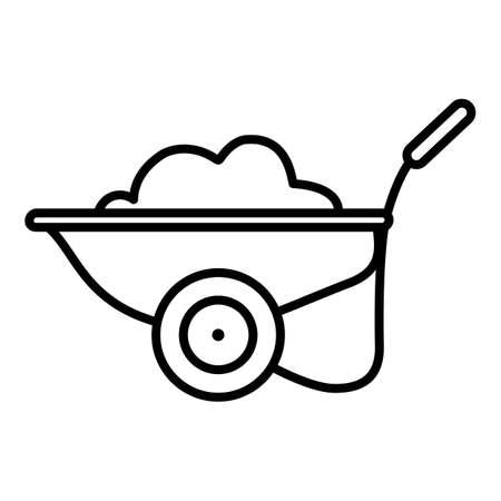 Garden Cart with Soil. Vector Outline Icon.
