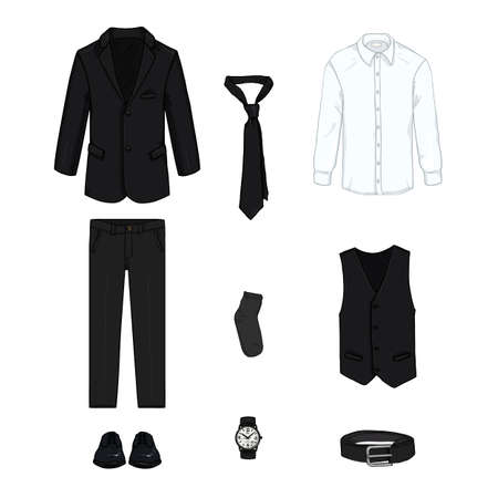 Black Business Style Clothes Set. Three-piece Suit Vector Cartoon Illustration.
