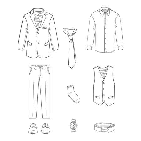 Sketch Business Style Clothes Set. Three-piece Suit Vector Illustration.