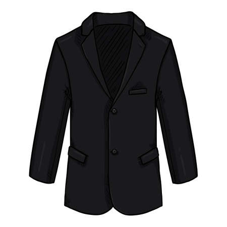 Black Blazer. Business Suit Jacket Vector Cartoon Illustration. Vectores