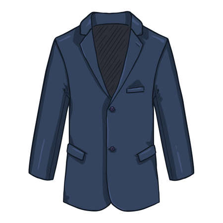 Blazer. Business Suit Blue Jacket Vector Cartoon Illustration.