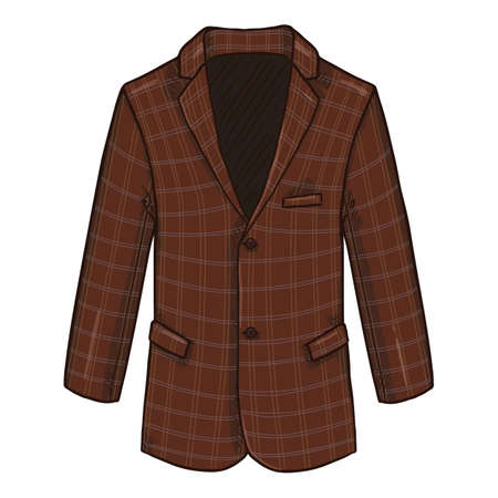 Checkered Blazer. Retro Suit Brown Jacket Vector Cartoon Illustration. Vectores