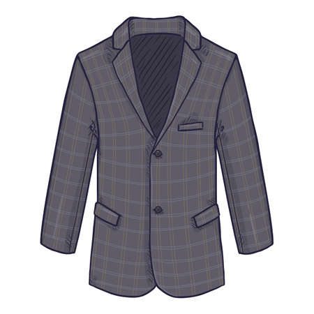 Checkered Gray Blazer. Suit Jacket Vector Cartoon Illustration. Vectores
