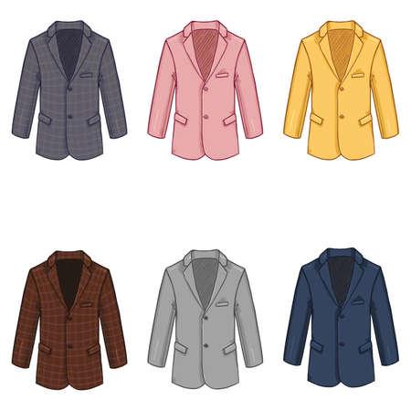 Vector Set of Cartoon Blazers. Color Variations of Suit Jacket