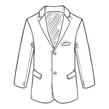 Sketch Blazer. Suit Jacket Vector Hand Drawn Illustration.