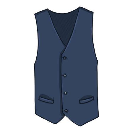 Waiscoat. Vector Cartoon Illustration of Dark Blue Vest