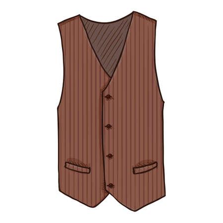 Waiscoat. Vector Cartoon Illustration of Brown Vest