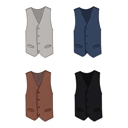 Vector Set of Cartoon Waistcoats. Vest Color Variations Vectores