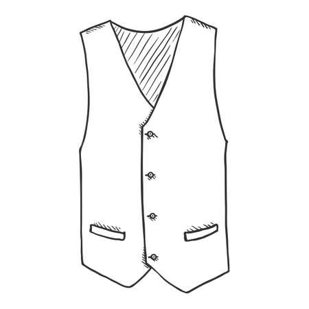 Sketch Waiscoat. Vector Cartoon Illustration of Hand Drawn Vest