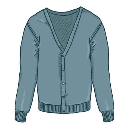 Blue Cardigan on White Background. Vector Cartoon Illustration