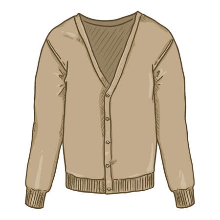 Brown Cardigan on White Background. Vector Cartoon Illustration