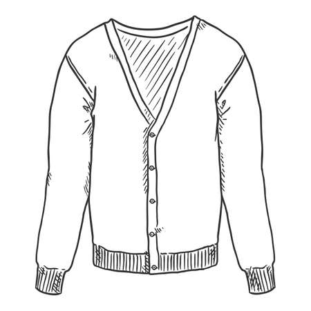 Vector Hand Drawn Sketch Cardigan Isolated Illustration