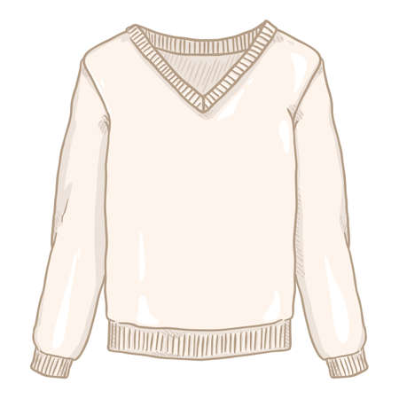Vector Cartoon White Pullover on White Background Vectores