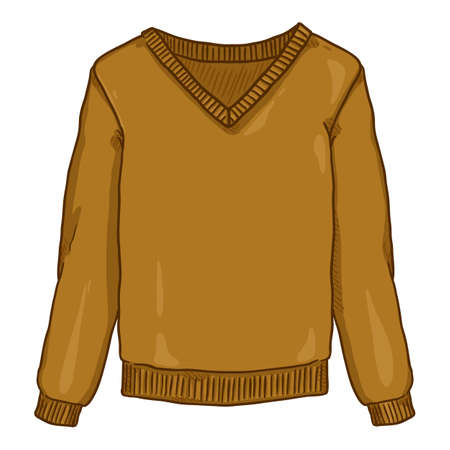 Vector Cartoon Brown Pullover on White Background Vectores