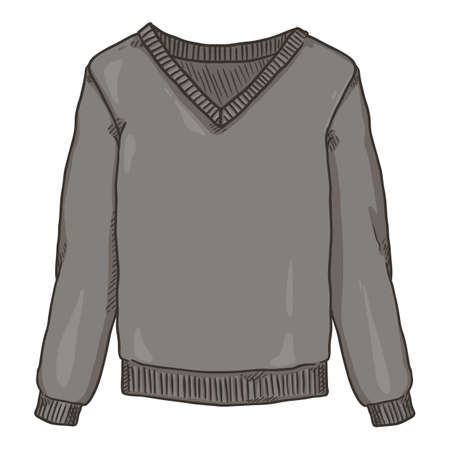 Vector Cartoon Gray Pullover on White Background