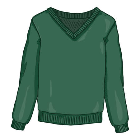 Vector Cartoon Green Pullover on White Background
