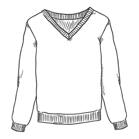 Vector Hand Drawn Sketch Pullover Isolated Illustration Vectores