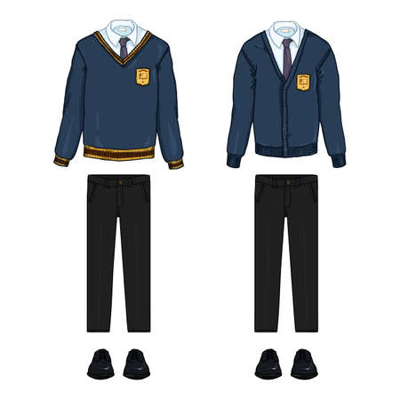 Vector Cartoon Set of School Uniform Clothes. Blue Cardigan and Pullover, Black Trousers and Shoes.