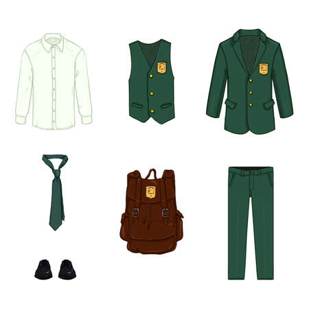 Vector Cartoon Set of School Uniform Clothes and Accessories. Green Suit, Black Shoes and Brown Backpack.