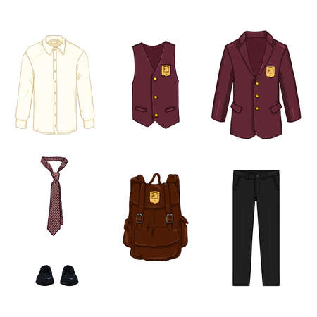 Vector Cartoon Set of School Uniform Clothing and Accessories. Red Clothes, Black Trousers and Shoes and Brown Backpack. Vectores