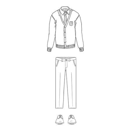 Vector Sketch Set of School Uniform Clothes. Cardigan, Trousers and Shoes.