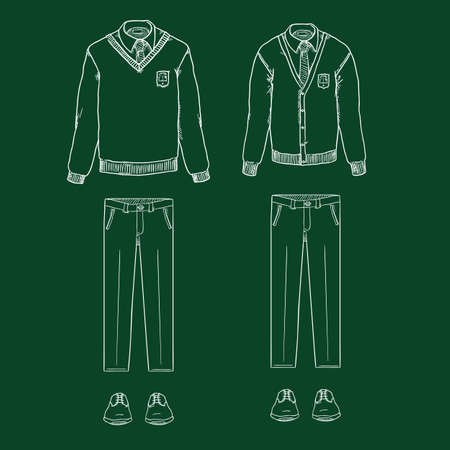 Vector Chalk Sketch Set of School Uniform Clothes. Cardigan, Pullover, Trousers and Shoes.