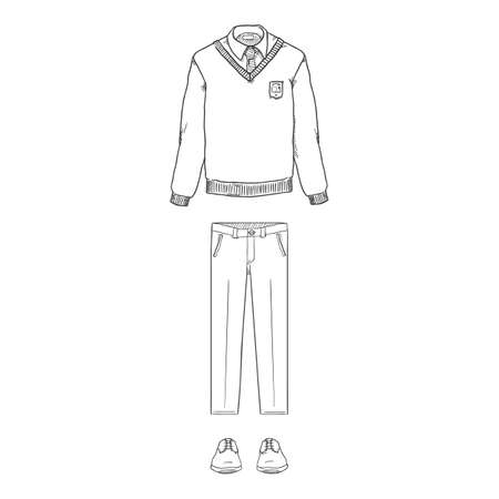 Vector Sketch Set of School Uniform Clothes. Pullover, Trousers and Shoes.