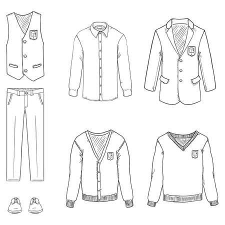 Vector Hand Drawn Sketch Set of School Uniform Clothes.