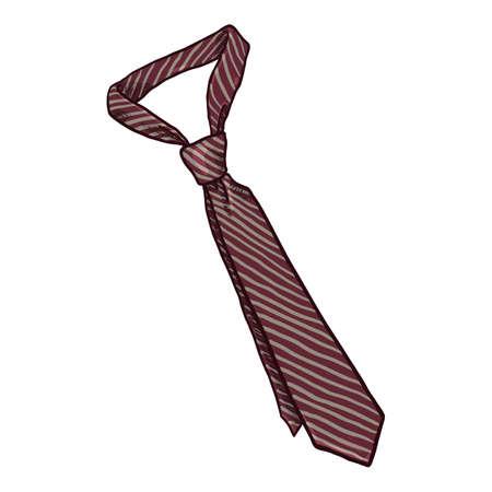 Striped Necktie. Vector Cartoon Illustration