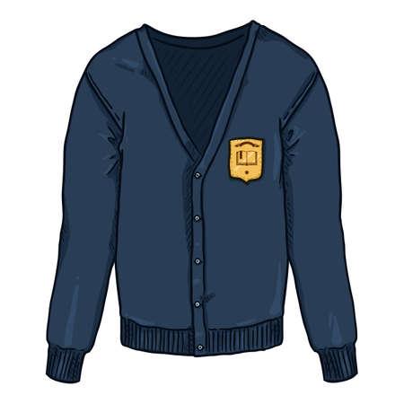 Blue Cardigan with School Badge. Vector Cartoon School Uniform Illustration.