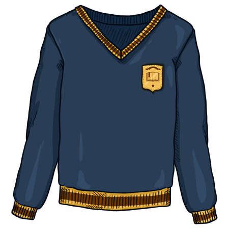 Blue Pullover with School Badge. Vector Cartoon School Uniform Illustration.